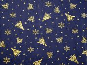 Metallic Christmas Motif Print Cotton Fabric  Navy Blue & Gold