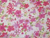 Floral Print Polyester Chiffon Dress Fabric  Pink