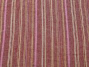 Stripe Weave Linen & Rayon Dress Fabric  Red & Pink