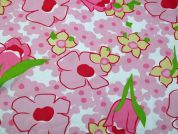 Floral Print Polyester Georgette Dress Fabric  Pink