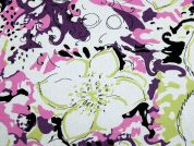 Floral Print Poly Viscose Crepe Dress Fabric  Multicoloured