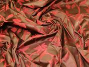 Floral Woven Jacquard Fabric  Pomegranate