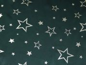Star Metallic Foil Print Satin Dress Fabric  Bottle Green