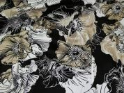 Stretch Cotton Sateen Fabric  Black, White & Beige
