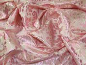 Floral Woven Brocade Dress Fabric  Pink