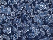 Printed Georgette Fabric  Denim Blue