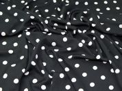 Spotty Print Poly Crepe Dress Fabric  Black