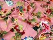 Flowers & Butterflies Print Viscose Challis Dress Fabric  Pink