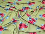 Floral Print Poly Crepe Dress Fabric  Green