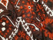 Printed Jersey Knit Fabric  Brown & Rust