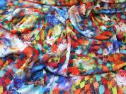 Abstract Floral Print Silky Satin Dress Fabric  Multicoloured