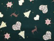 Metallic Christmas Trees & Hearts Print Cotton Fabric  Bottle Green