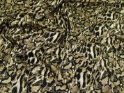 Animal Print Stretch Cotton Fabric  Taupe Brown