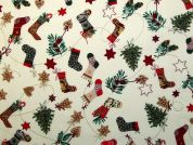 Metallic Christmas Stockings Print Cotton Fabric  Ivory