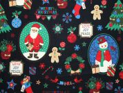 Christmas Wishes Print Cotton Fabric  Black