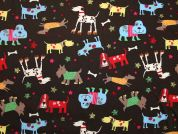 Dogs Print Cotton Dress Fabric  Brown