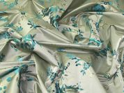 Floral Woven Metallic Brocade Dress Fabric  Teal