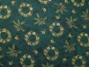 Christmas Wreaths Print Cotton Fabric  Bottle Green