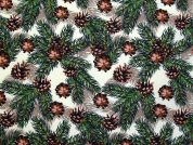 Christmas Pinecones Print Cotton Fabric  Green & Brown