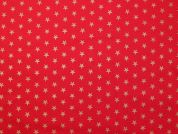 Metallic Christmas Medium Stars Print Cotton Fabric  Red