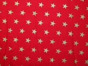 Metallic Christmas Large Stars Print Cotton Fabric  Red
