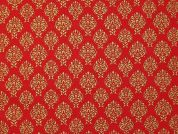 Metallic Christmas Regal Print Cotton Fabric  Red & Gold