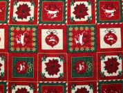 Metallic Christmas Patchwork Print Cotton Fabric  Red