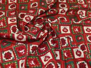 Christmas Cotton Fabric  Red & Green
