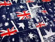 Australian Flag Print Polycotton Canvas Dress Fabric  Red White Blue