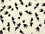 Birds Print Polycotton Canvas Dress Fabric  Black & Beige