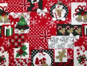 Metallic Christmas Print Cotton Fabric  Red & Green