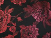 Metallic Brocade Fabric  Black & Wine