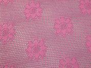 Crochet Effect Floral Design Fishnet Lace Dress Fabric  Pink