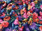 Pre Quilted Floral Bonded Stretch Jersey Dress Fabric  Multicoloured