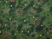 Metallic Christmas Wreath & Star Print Cotton Fabric  Bottle Green