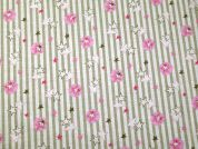 Cute Stars Print Cotton Dress Fabric  Beige & Pink