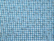Floral Print on Gingham Cotton Dress Fabric  Turquoise