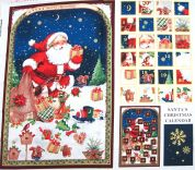 Santas Christmas Advent Calender Fabric Panel