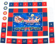 Santa & His Friends Are Coming Christmas Advent Calender Fabric Panel