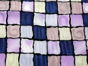 Squares Print Microfibre Dress Fabric  Lilac