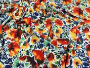 Floral Print Microfibre Dress Fabric  Orange