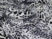 Animal Print Sateen Fabric  Black White Grey