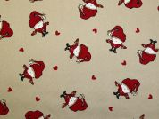Santa & Hearts Print Polycotton Canvas Christmas Fabric  Beige & Red