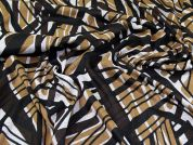 Geometric Print Stretch Jersey Knit Dress Fabric  Black, Grey & Brown
