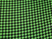 Harlequin Diamonds Print Satin Dress Fabric  Black & Green