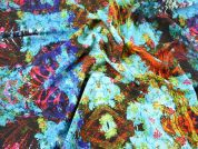 Abstract Floral Print Microfibre Dress Fabric  Turquoise