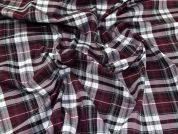 Tartan Plaid Check Weave Suiting Dress Fabric  Burgundy