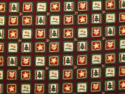 Metallic Christmas Squares Print Cotton Fabric  Wine & Bottle Green