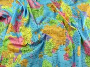 World Globe Print Cotton Poplin Fabric  Multicoloured