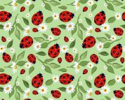 Little Johnny Digital Print Cotton Fabric  Red Green